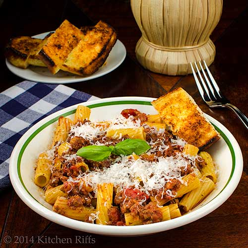 Italian Meast Sauce with pasta in bowl