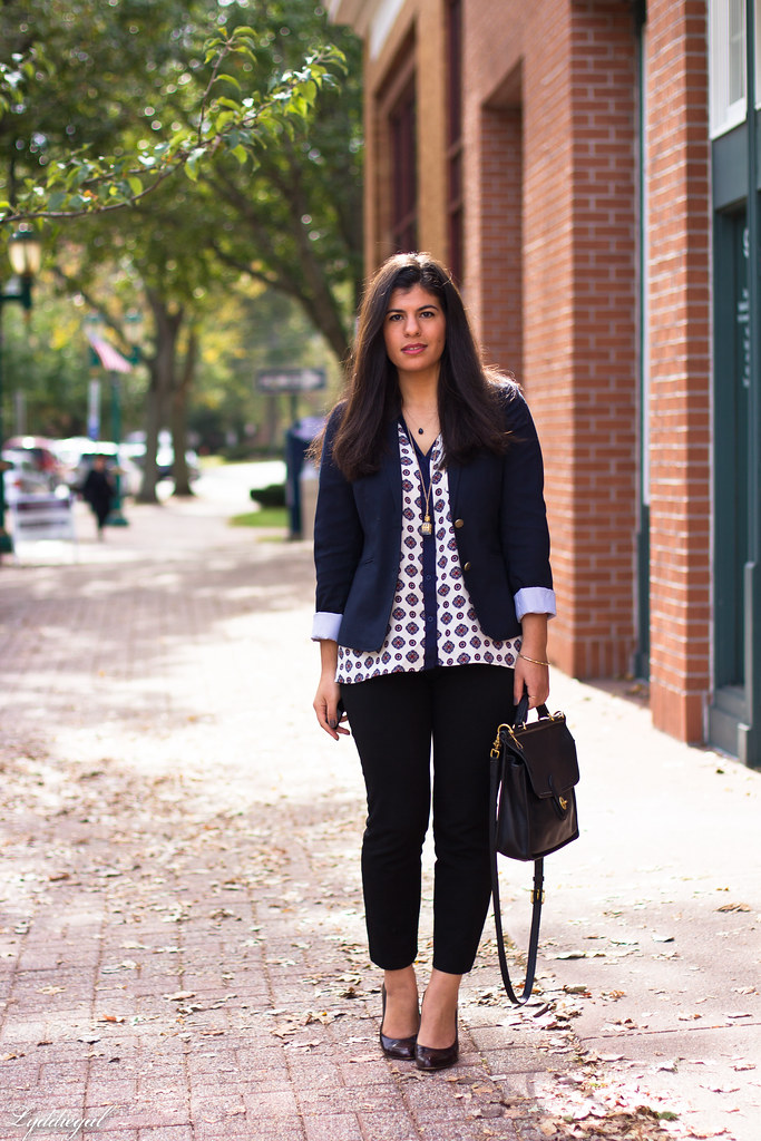 medallion print blouse, navy blazer, black pants.jpg