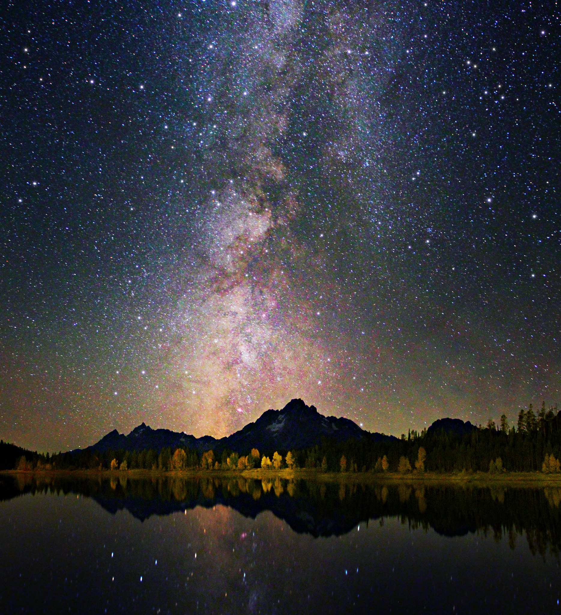 Grand Teton Colors Of Night Sky And Reflection Astroph