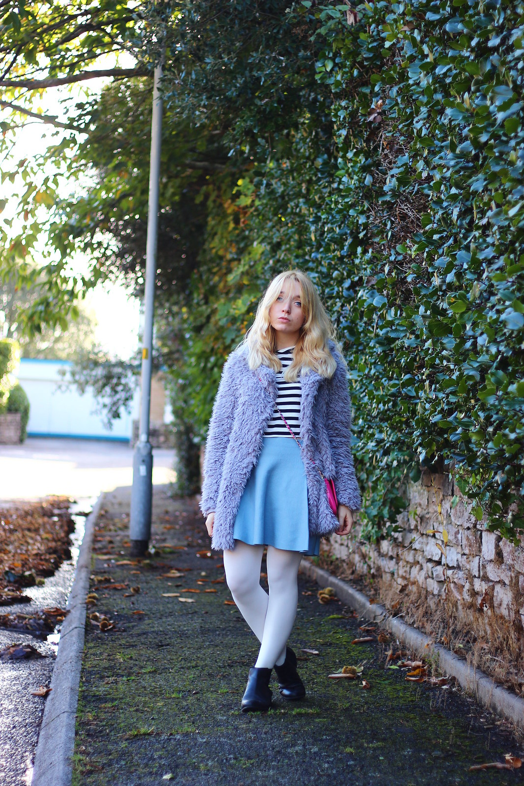 1lilaccoat, pastel outfit, fluffy coat