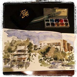 #japon #urbansketch #carbon #platinum #watercolor #moleskine