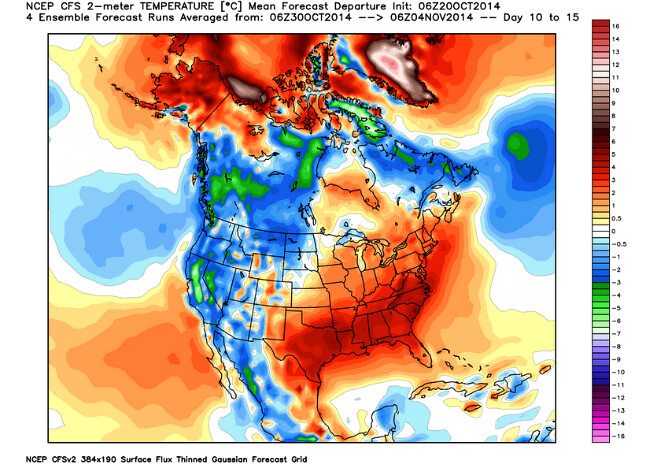 cfsv2 forecast temperature anomalies