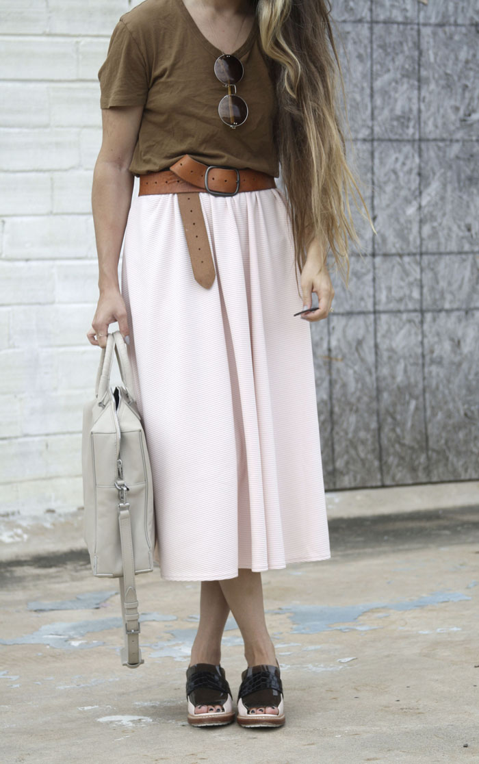 Fringe of the Cro | Pastel themed outfit for fall with alexander wang brief case and phillip lim loafers and miss guided midi skirt