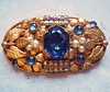 Vintage Bohemian Brass and Rhinestone Brooch
