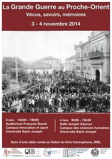 Colloque : La Grande Guerre au Proche-Orient : Savoirs, vécus, mémoires (Beyrouth, 3-4 novembre 2014)