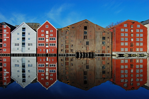 the old warehouses by the river Nidelva