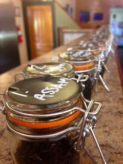 Loose Tea Bottles Lined Up