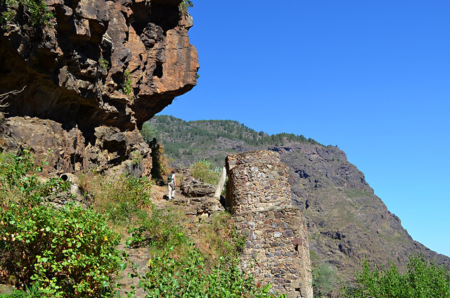 Climbing past an old mill, Tamadaba, Gran Canaria