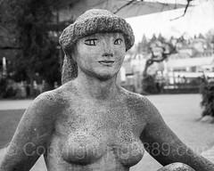 """""""Kauernde"""" Stone Sculpture (1951) by Otto Charles Bänninger, Inseli Park, Lucerne, Switzerland"""