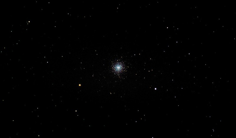 M13 Great Hercules Cluster via 80mm refractor from London living room window on Alt Az mount - Improved