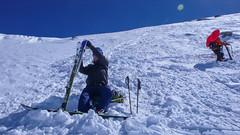 Paweł i Piotr w lawinie, nic sie nikumu nie stało, sprzęt cały. Proba wejscie na szczyt Punta Fuora 3411m.