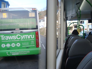 TrawsCymru T5 buses pass in Goodwick, seen from on-board one of the buses