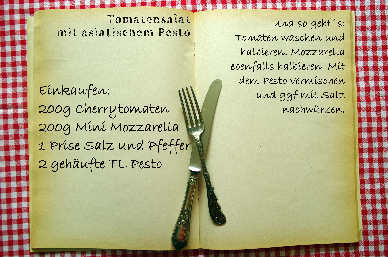 Einkaufszettel Tomatenpestosalat by Glasgeflüster