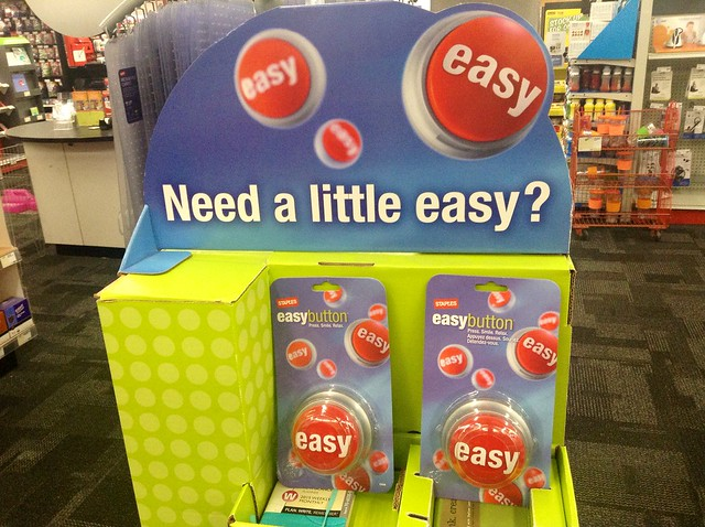 Staples Easy Button Display 10/2014, by Mike Mozart of TheToyChannel and JeepersMedia on YouTube #Staples #Easy #Button from Flickr via Wylio