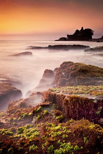 longexposure sunset sea bali mist seascape water silhouette indonesia landscape island temple coast rocks coastal algae pura silhouetted goldenhour tanahlot seawater batubolong purabatubolong canoneos5dmark2 canon24105mmf4lislens bwtenstopndfilter