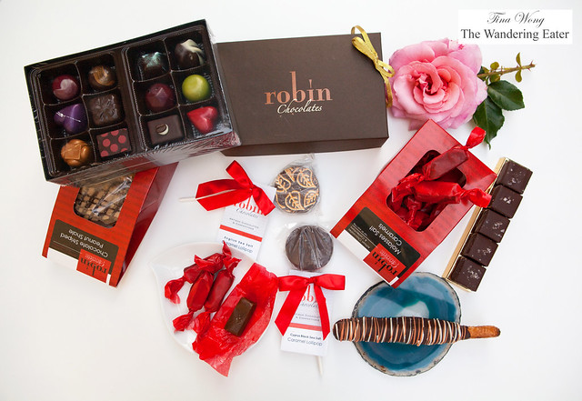 Robin Chocolates - Bonbons, Molasses salted caramels, Chocolate covered caramels with fleur de sel and Chocolate caramel lollipops