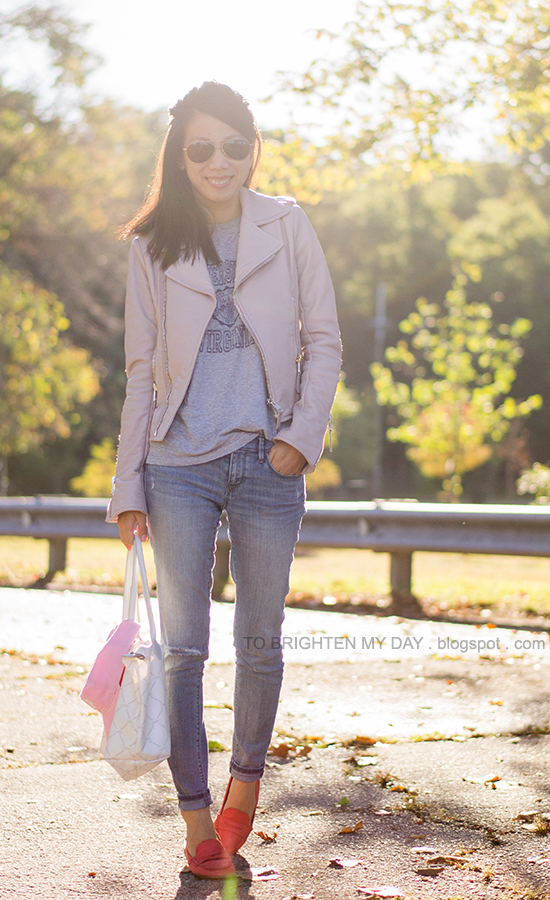 lilac leather jacket, gray tee, distressed jeans, red loafers