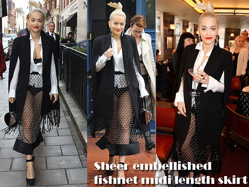 Rita Ora in sheer embellished fishnet midi length skirt & fringed black cape coat: Hit or Miss?