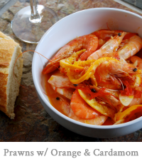 Prawns with Orange, Tomato & Cardamom