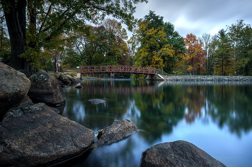 new bridge autumn trees lake fall nature water reflections landscape rocks colorful pretty scenic nj lakeside jersey hdr parsippany lakeparsippany