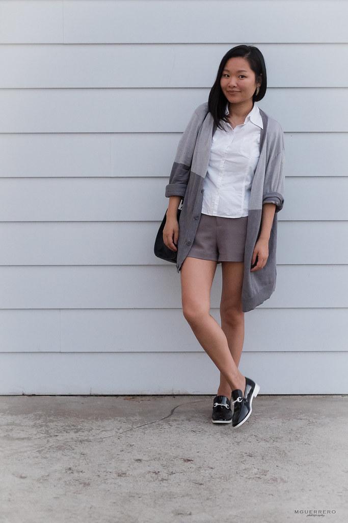 Oversized cardigan and shorts 05