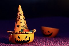 happy halloween with jack-o-lantern bowls