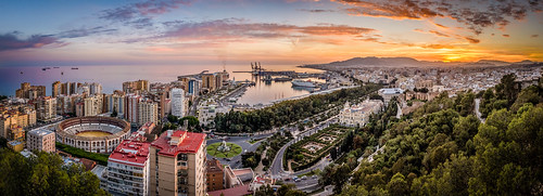 city sunset panorama skyline harbor andalucia malaga mirador mountaint bullarena