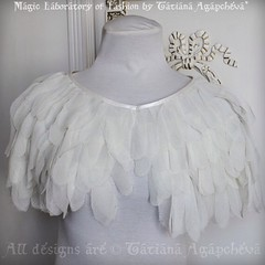 #wedding #weddinggown #bride #swan #swanlake #capelet #cape #caplet #chiffon #feathers #eco #vegan #etsy #sale #eyelash #angel #wings #couture #handmade #bohochic #vintage #antique #beautiful #ivory