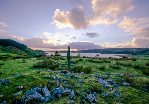 sunset clouds scotland standingstones argyll neolithic argyllbute a816 kintraw