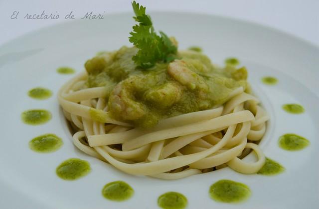 tallarines en salsa verde y cilantro 1