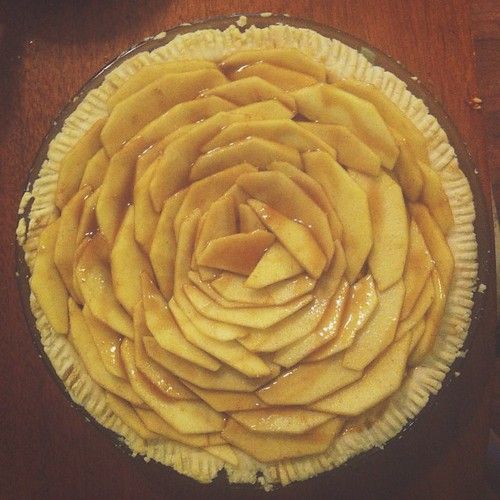 Caramel apple pie about to hit the oven.
