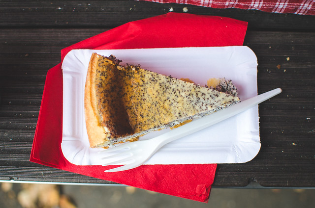 Must try at the Prague Farmer's Market, poppyseed cheesecake at Náměstí Jiřího z Poděbrad, or Jiřák.