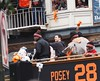 SF Giants Word Series Parade 2014 - Buster Posey and Santiago Casilla