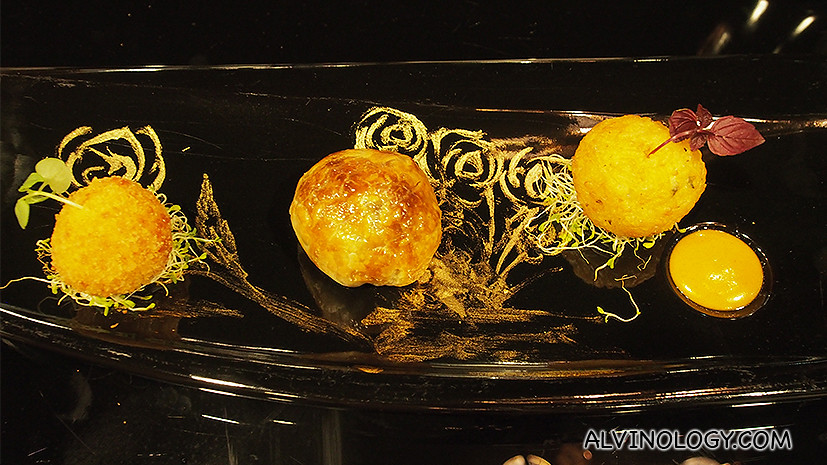 Trio of Spheres - fresh wild mushroom with truffle oil and onion in puff pastry, butternut pumpkin risotto ball with curry mayonnaise, crispy duo of mozzarella arancini