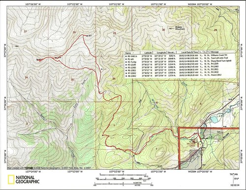 Pt 13811 and 13832 Topo Map with Waypoints