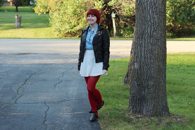 Lace Skater Skirt, Red Tights, Denim Shirt, and Black Leather Jacket