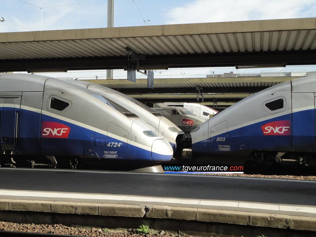Alignement de rames TGV Euroduplex Alstom à Paris Gare de Lyon