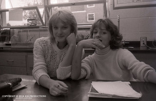 Tri-X Files 84_26.24: Donna and Leah in Fifth Period Earth Science