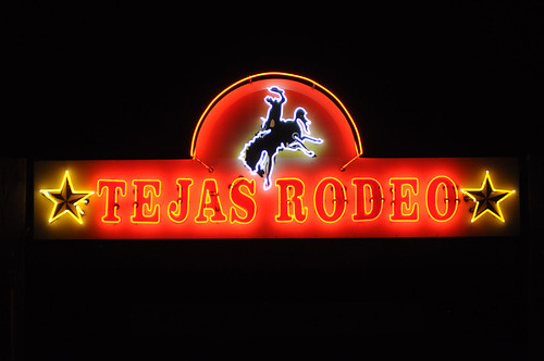 This is the sign greeting guests at the Tejas Rodeo in Bulverde, Texas.