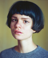 nose, black hair, chin, face, hairstyle, clothing, head, hair, bob cut, wig, portrait, eye,