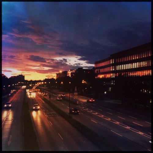 blue sky cars clouds sunrise munich münchen dawn traffic freeway mittlererring schwabing skyporn