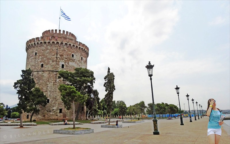 Macedonia, Thessaloniki, lonely girl at the White Tower, Greece #Μacedonia