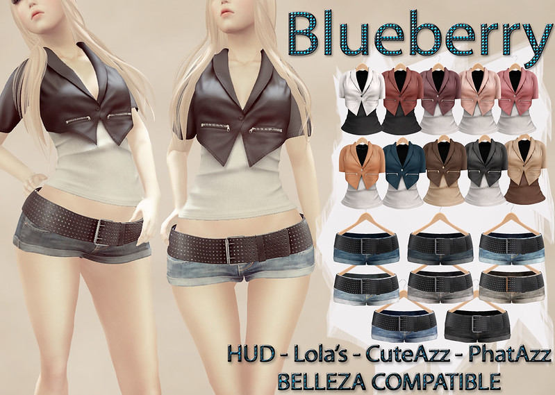 Blueberry Chlo (Belleza Venus Compatible) Set! Crop Blazers + Belted Denim Shorts