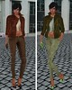 GizzA - Asymmetric Leather Jacket Brown & Green and Josie Pants Corduroy & Suede Soil