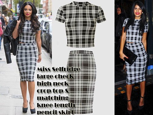 Who wore the Miss Selfridge large check high neck crop top & matching knee length pencil skirt better: Tulisa Contostavlos or Jasmin Walia