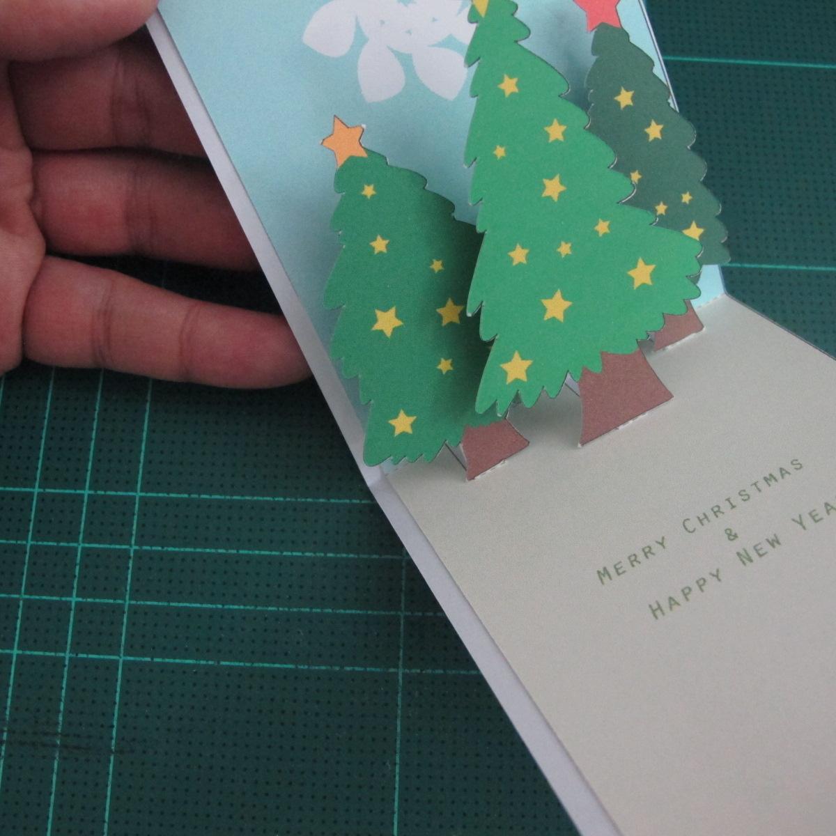 การทำการ์ดอวยพรลายต้นคริสต์มาสแบบป็อปอัป (Card Making Christmas Trees Pop-Up Card Template) 012
