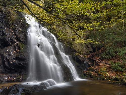 camping autumn mountains fall water leaves landscape golden waterfall october slow hiking great trail shutter smoky milky silky tremont littleriver greatsmokymountainsnationalpark gsmnp middleprong spruceflatbranch