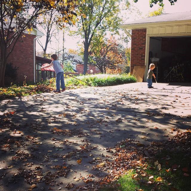 raking and sweeping #kids #Fall