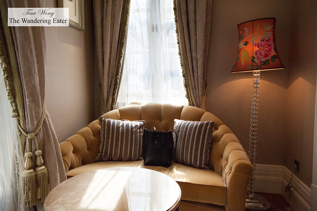 The lovely light filtering in the seating area at the King Waldorf Suite