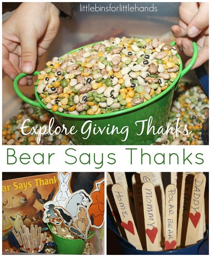 Bear Says Thanks Gratitude Sensory Bin (Photo from Little Bins for Little Hands)